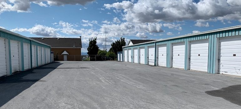 a row of storage units that belong to residential moving companies NJ