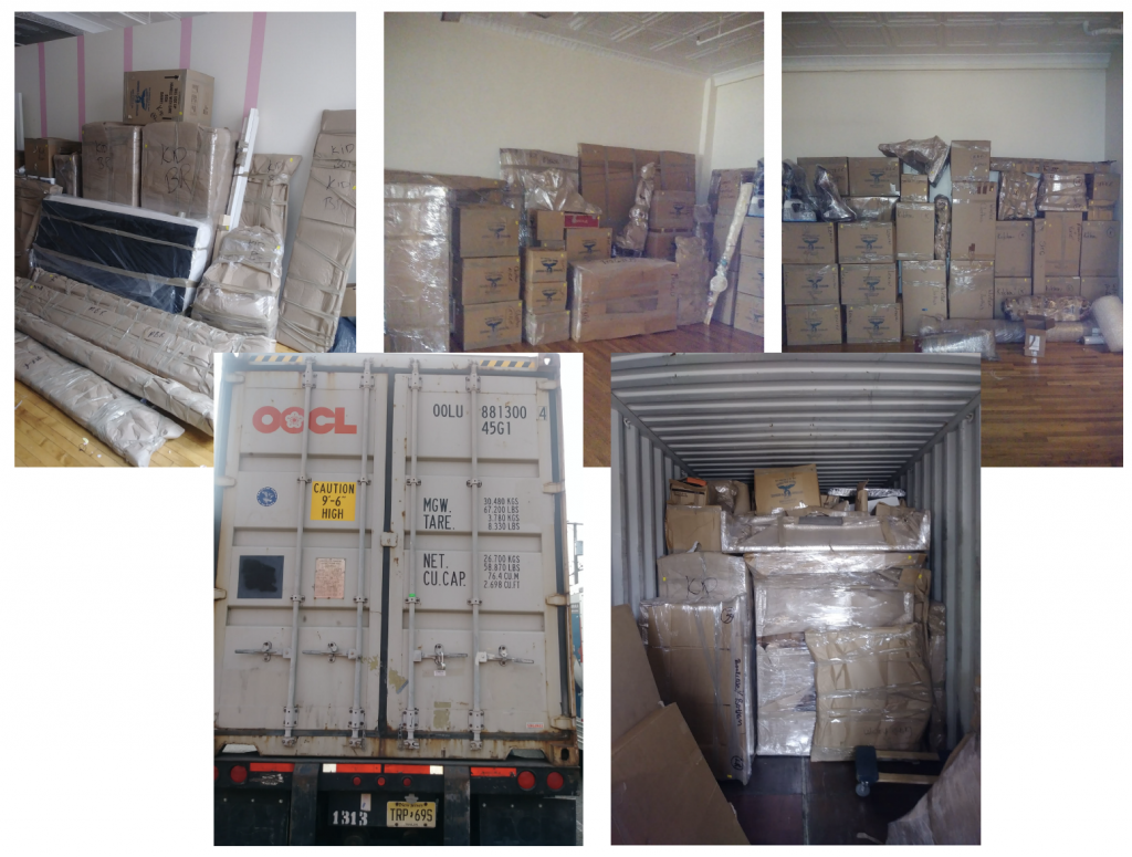 boxes in a room and a loaded truck