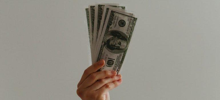 person holding dollar bills
